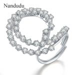 Nandudu White Gold Color Flower Austrian Crystal Ring HOT SALE Adjustable Size Rings <b>Accessories</b> Fashion <b>Jewelry</b> Gift R1086