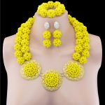 African Yellow Crystal Wedding Women Bridal <b>Accessories</b> nigerian Flower Pattern dubai African Beads <b>jewelry</b> sets
