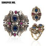 OFF Fashion Turkish Bracelet Flower Vintage Bangle <b>Antique</b> Gold Color Broadside Bracelets For Women India Wedding Indian <b>Jewelry</b>