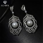 CC earrings for women crystal beads vintage long earring flower pearl rhinestone wedding <b>accessories</b> bride party <b>jewelry</b> E0007