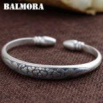 BALMORA 999 Pure Silver Flower Open Bangles for Women Mother Gift about 17cm Bracelet Silver <b>Jewelry</b> Pulsera <b>Accessories</b> SZ0283