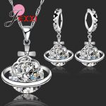 New Arrival 925 Sterling Silver African CZ Crystal Flower Necklace Drop Earrings Romantic Wedding <b>Jewelry</b> Set Bijoux <b>Accessories</b>