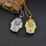 MCSAYS Hip Hop Stainless Steel <b>Jewelry</b> Crystal Egypt Pharaoh Pendant 60cm Box Chain Iced Out Necklace Fashion <b>Accessories</b> 3MJ