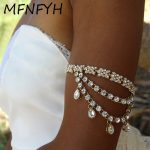 MFNFYH 1PCS Women Shiny Rhinestone Crystal Flower Waterdrop Tassel Upper Arm Chain Bracelet Wedding Bridal <b>Jewelry</b> <b>Accessories</b>