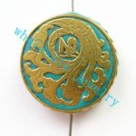 (Min. Order $10)3pcs/lot Nepal Tibetan Type Manual <b>Antique</b> Bead, Flat Round Brass Embed Imitation Turquoises H662792 28x8mm