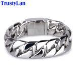 TrustyLan 22CM Long 20MM Wide Frosted Bracelet Men Cool Stainless Steel Link Chain Mens Bracelets <b>Jewelry</b> <b>Accessory</b> Wristband