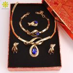 <b>Jewelry</b> Sets For Wedding Dress <b>Accessories</b> African Beads Women Crystal Water Drop Pendant Gold Color <b>Jewelry</b> Sets+Gift Boxes