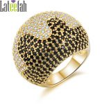 Lateefah <b>Art</b> <b>Deco</b> Luxury Party Ring <b>Jewelry</b> Collection Vintage Gold Color Black and White Micro Pave Cubic Zirconia Big Rings