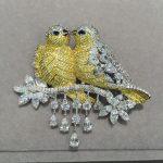 Yellow Double kiss birds brooch pins 925 <b>sterling</b> <b>silver</b> with cubic zircon Romantic fashion women <b>jewelry</b> top quality