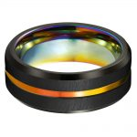 Beautiful Engagement Rings 8mm Mens Tungsten Ring Rainbow Anodized Groove Center with Rainbow Plating <b>Antique</b> <b>Jewelry</b>
