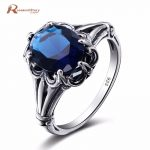 Edward <b>Antique</b> <b>Jewelry</b> Created Sapphire Stone Ring 925 Sterling Silver Women Vintage Ring Hollow Out Engraved Flower <b>Jewelry</b>
