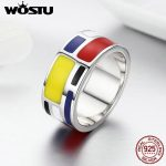 WOSTU Genuine 925 Sterling Silver Red and Blue Enamel Geomotry modern Design Wide Band Ring Unique S925 <b>Jewelry</b> <b>Accessory</b> BKR251