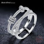 ANFASNI Fashion Party <b>Accessories</b> Unique Design 925 Sterling Silver Circle Rings For Women <b>Jewelry</b> Gift Four Colors CGSRI0038