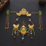 Chinese Style Wedding <b>Jewelry</b> Sets Bridal Headdress Cloisonne Hair <b>Accessories</b> Golden Red Crystal Hairpins Earrings