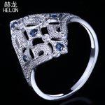 HELON Solid 10K White Gold Milgrain Natural Diamond & Sapphire <b>Art</b> <b>Deco</b> <b>Jewelry</b> Vintage & Antique Engagement Wedding Fine Ring