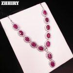 Natural Ruby Gem Necklace Woman Precious Stone Pendant Solid 925 <b>Sterling</b> <b>Silver</b> Fady's Fine <b>Jewelry</b>