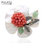 PULATU Original Handmade Flower Brooches Fashion <b>Jewelry</b> <b>Accessories</b> Pendant Natural Shell Stone Pin Brooch Women Birthday Gift