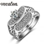 Vecalon <b>Antique</b> <b>Jewelry</b> Engagement Wedding Band Ring Set for Women AAAAA Zircon Cz 10KT White Gold Filled Female Party ring