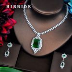 HIBRIDE Brilliant Green Full Cubic Zirconia Women Bridal <b>Jewelry</b> Sets Necklace Set Wedding <b>Accessories</b> Gifts <b>Jewelry</b> N-437
