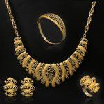Fashion Big Necklace Tie Dubai African Gold-color bracelet Earrings Costume <b>Jewelry</b> Sets Nigerian Women bride Wedding <b>accessorie</b>