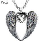 YACQ Guardian Angel Wing Heart Necklace <b>Antique</b> Silver Color Women Girls Biker Bling Crystal <b>Jewelry</b> Gifts Dropshipping NC06