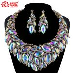 Crystal AB color Bridal <b>Jewelry</b> Set For Brides Necklace Earrings Women Wedding Party Marquise rhinestone <b>jewelry</b> <b>Accessories</b>