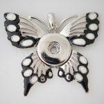 10pcs/lot Vintage 18mm butterflySnap Button pendant Necklace Women <b>Antique</b> Silver for Party Partnerbeads <b>Jewelry</b> KB0117