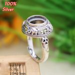 100% 925 Sterling Silver Adjustable Ring Blank Tary Round Fit 10MM Setting Tray Bead <b>Antique</b> Silver