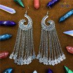 India Original fringed crescent earring. Long face temperament Earrings repair. <b>Antique</b> silver <b>jewelry</b> in India. Thailand, Nepal