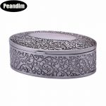 PEANDIM Ornate <b>Antique</b> Engraving <b>Jewelry</b> Box Trinket Carring Box Metal Art Craft Princess <b>Jewelry</b> Box For Wedding Holiday Gifts