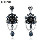 CHICVIE Ethnic Vintage Drop Dangle Earrings for Women Blue Crystal <b>Antique</b> Bronze Color <b>Jewelry</b> Popular Gifts SER160112