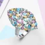 Fancy Bright Glitter Effect Stones Pastel Colors Unique Trendy Girl <b>Jewelry</b> Pink Blue Green Crystals Party Gift Ring <b>Accessories</b>
