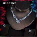 HIBRIDE Charm Sparkling Cubic Zircon <b>Jewelry</b> Sets For Women <b>Accessories</b> Pendientes Piedras Necklace Earrings Bijoux Set N-586