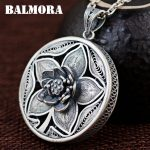 BALMORA 990 Pure Silver Vintage Flower Hollow Pendants for Women Mother's Gift <b>Accessories</b> <b>Jewelry</b> Without a Chain SY13261