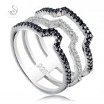 Eulonvan engagement rings <b>Jewelry</b> & <b>Accessories</b> for women 925 sterling silver White and Black Cubic Zirconia S-3797 size 6 7 8 9