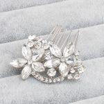 Stunning Hot Selling <b>Art</b> <b>Deco</b> Clear Rhinestones Crystal Flower Leaf Alloy Wedding Hair Comb Bridal Hair Accessories Hair <b>Jewelry</b>