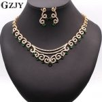 GZJY Bridal Dress <b>Accessories</b> <b>Jewelry</b> Sets Gold Color Multi-color Zircon Necklace Earring <b>Jewelry</b> sets For Women