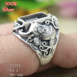 100% Sterling Silver 925 Elephant <b>Jewelry</b> 9x13mm Adjustable Ring Blank Tray for man Setting Square Stone <b>Antique</b>