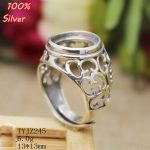 100% sterling-silver-<b>jewelry</b> Adjustable Ring Blank Empty Fit 13MM Setting Tray Bead <b>Antique</b> Silver