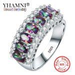 YHAMNI 100% 925 Sterling Ring Multicolor Cubic Zircon Fire Opal Rings For Women Vintage Fashion Silver <b>Jewelry</b> <b>Accessories</b> J049