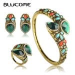 Blucome Vintage Water Drop Green Crystal <b>Jewelry</b> Sets For Women Party <b>Accessories</b> Turkish Bronze Color Bangle Ring Earrings Set