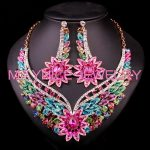 Indian Rhinestones Crystal Bridal <b>Jewelry</b> Sets Wedding engagement Party Flower <b>Accessory</b> Necklace Earrings Sets Gift for Bride