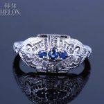 HELON Solid 14K White Gold Prong Genuine Sapphire Engagement Flawless Vintage <b>Art</b> <b>Deco</b> Filigree Wedding Fine <b>Jewelry</b> Women Ring