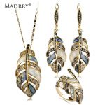 Madrry Alloy Metal Shell Crystal <b>Jewelry</b> Sets Necklace&Earrings&Ring Leaf Shape Party Schmuck Sets Mujer Sweater <b>Accessories</b>