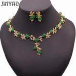 JINYAO Luxury Green Stone AAA Zircon Gold Color Necklace Earrings Set For Women Wedding <b>Accessories</b> <b>Jewelry</b>
