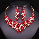 Fashion Red Rhinestone Crystal Necklace Earrings Set Bridal <b>Jewelry</b> Sets Wedding Party Dress Costume <b>Accessories</b> gifts for women