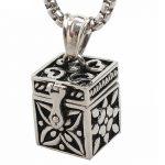 Open casting vintage <b>antique</b> Silver patterns square relatives pets Steel casket souvenir pendant ornament <b>jewelry</b>