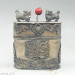 Collection Chinese old Tibetan silver Dragon Phoenix <b>jewelry</b> box kylin red Bead