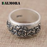 BALMORA 990 Pure Silver Vintage Flower Rings for Women Lover Gift Thai Silver Flower Ring <b>Jewelry</b> <b>Accessories</b> Anillo SY20893