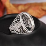 <b>Art</b> <b>Deco</b> 925 Sterling Silver 16x20mm Oval Cabochon Semi Mount Engagement Ring Fine <b>Jewelry</b> Setting Adjustable